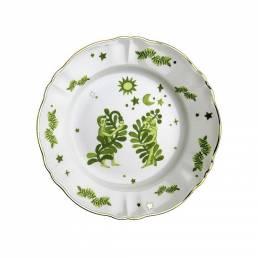 Piatto Piano Verde Floreale cm.26,5
